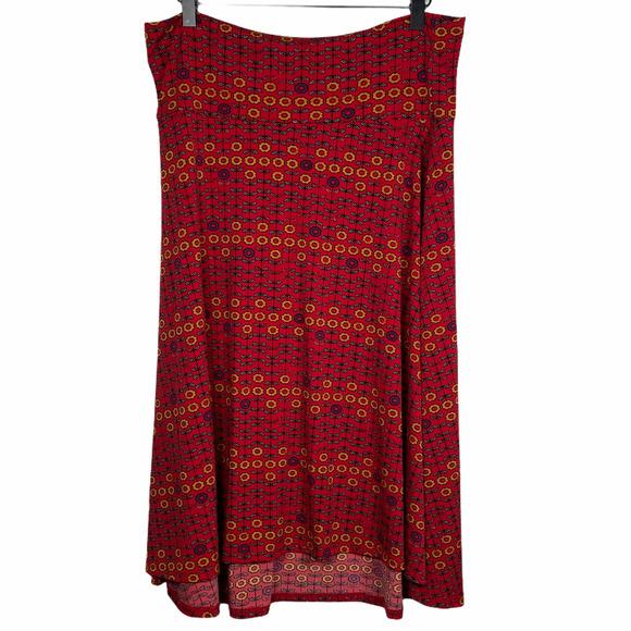 Lularoe Azure Floral Red Skirt Size XL